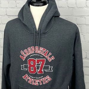 Aeropostle grey hoodie with red and white logo